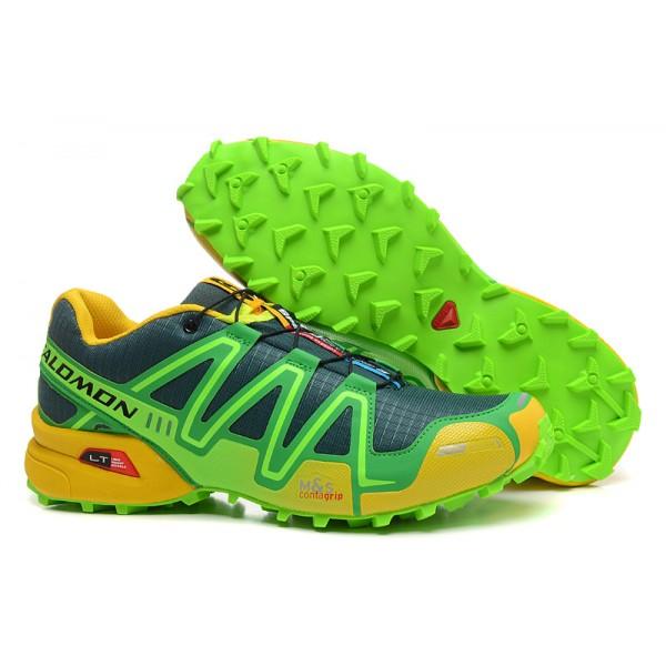 Salomon Speedcross 3 CS Trail Running In Green Yellow Shoes