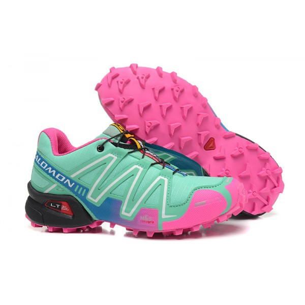 Salomon Speedcross 3 CS Trail Running In Blue Green Pink Shoes