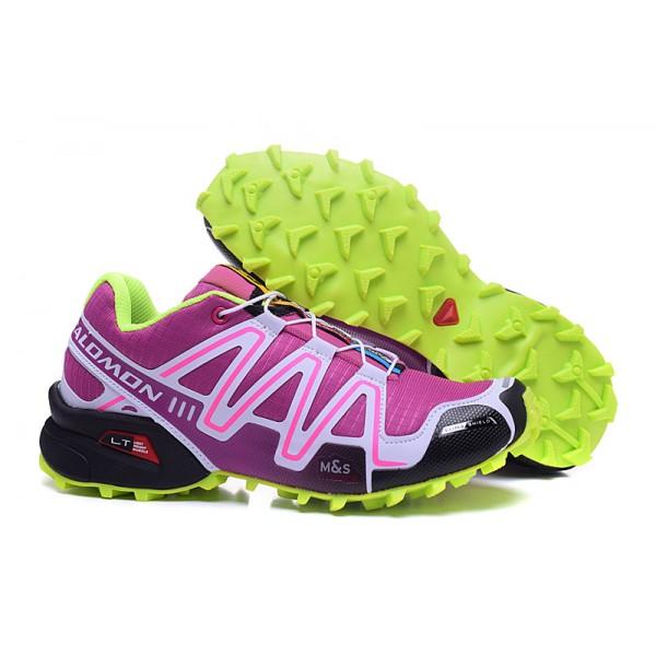 Salomon Speedcross 3 CS Trail Running In Purple Fluorescent Green Shoes