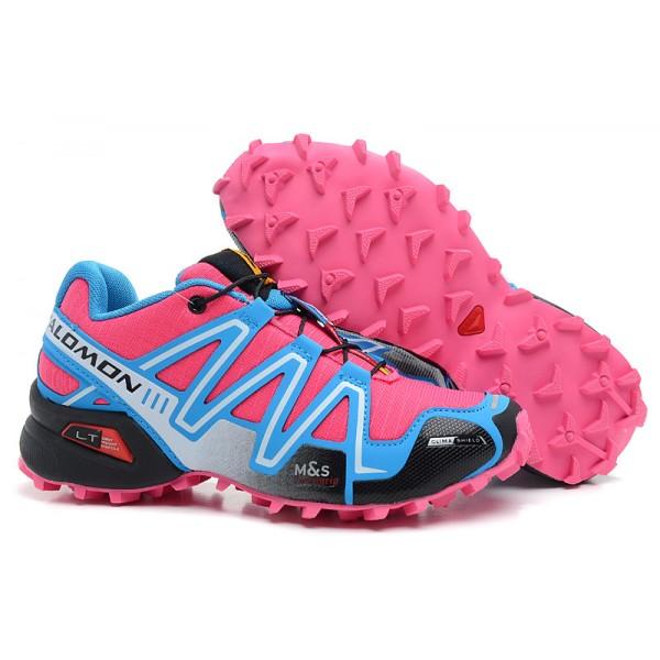 Salomon Speedcross 3 CS Trail Running In Sky Blue Rose Red Shoes