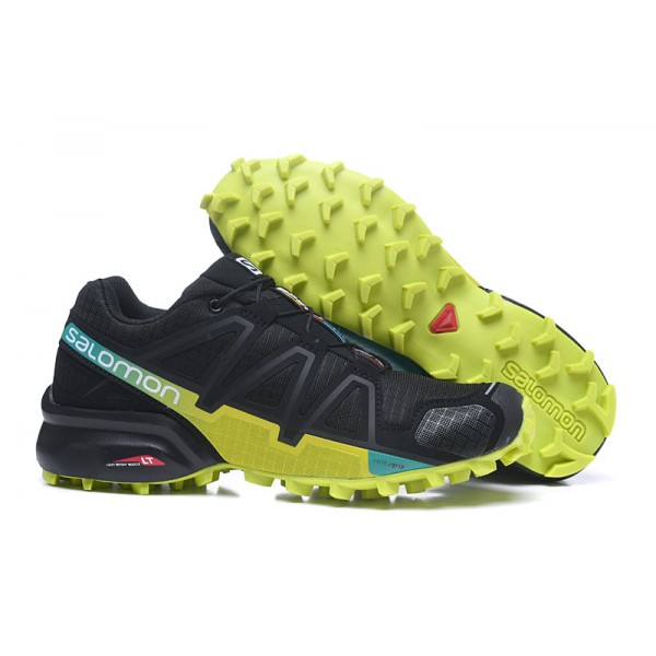 Salomon Speedcross 4 Trail Running In Black Fluorescent Green Shoes
