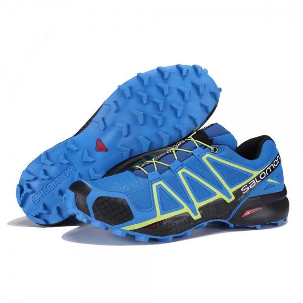Salomon Speedcross 4 Trail Running In Blue Yellow Shoes