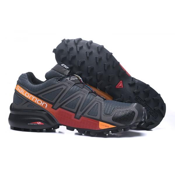 Salomon Speedcross 4 Trail Running In Deep Gray Red Shoes