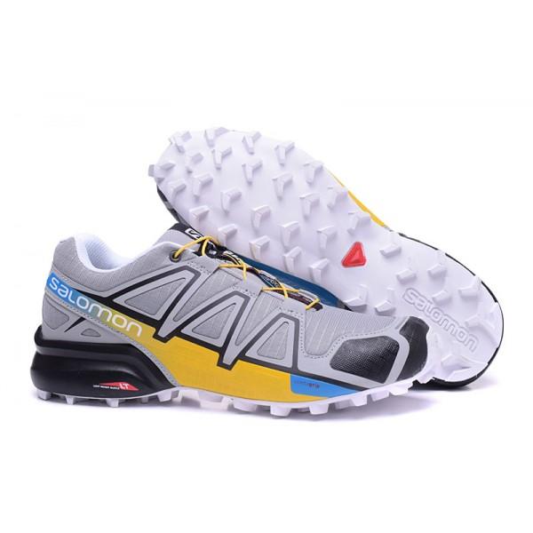Salomon Speedcross 4 Trail Running In Gray Yellow Shoes