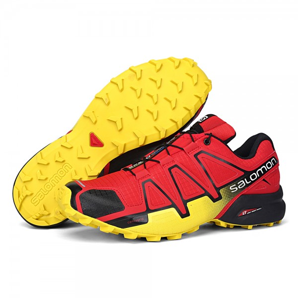 Salomon Speedcross 4 Trail Running In Red Yellow Shoes