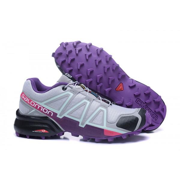 Salomon Speedcross 4 Trail Running In Grey Purple Shoes