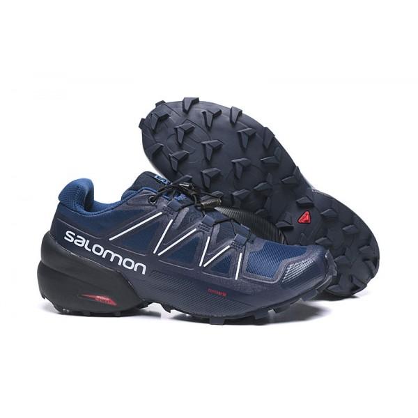 Salomon Speedcross 5 GTX Trail Running In Deep Blue White Shoes