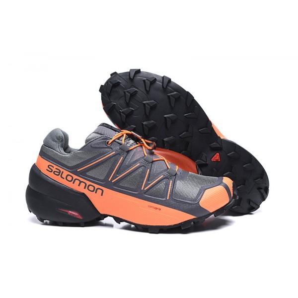 Salomon Speedcross 5 GTX Trail Running In Gray Orange Shoes