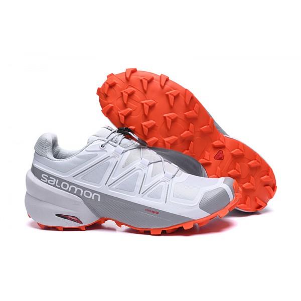 Salomon Speedcross 5 GTX Trail Running In White Grey Shoes