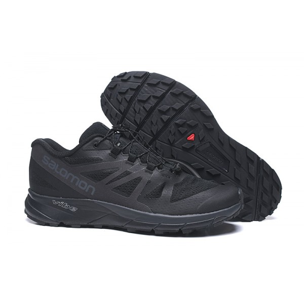 Salomon Vibe Trail Runners Sense Ride In Full Black Shoes