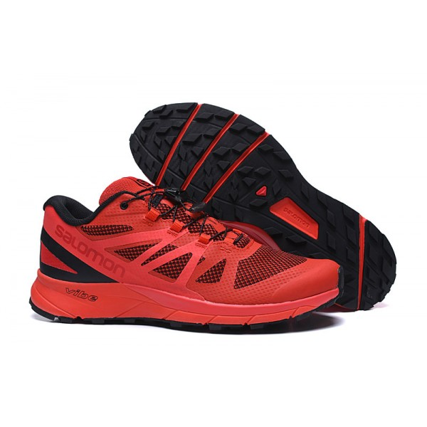 Salomon Vibe Trail Runners Sense Ride In Red Black Shoes