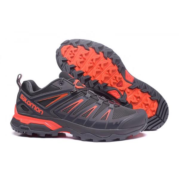 Salomon X ULTRA 3 GTX Waterproof In Gray Orange Shoes